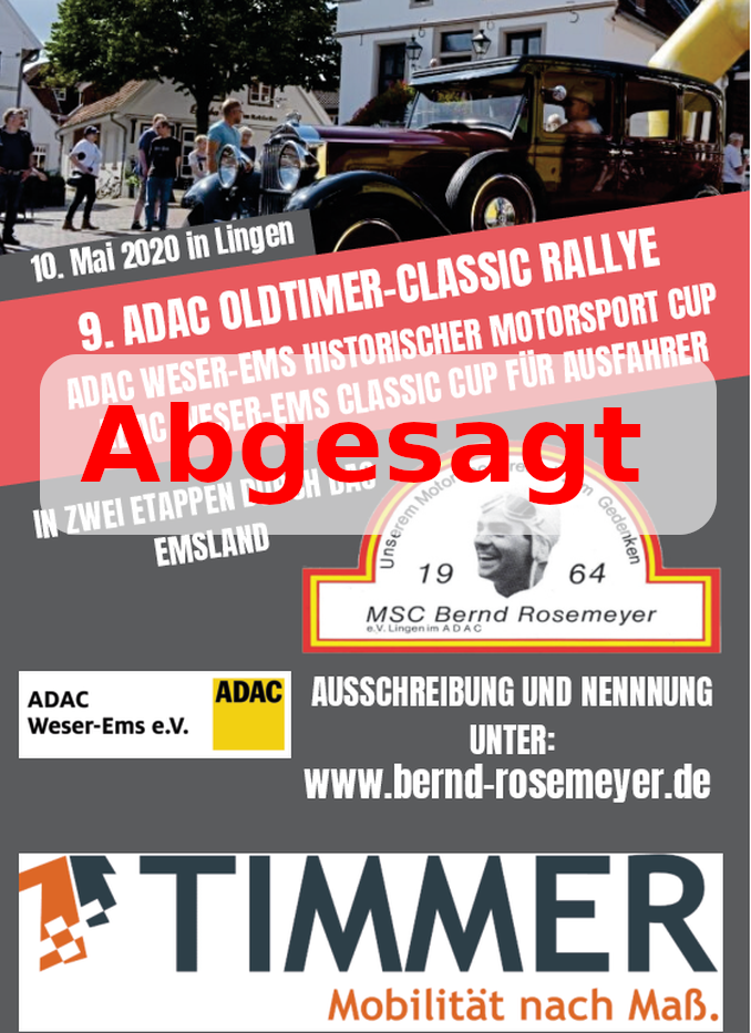 Absage 9. ADAC Classic-Rallye 2020